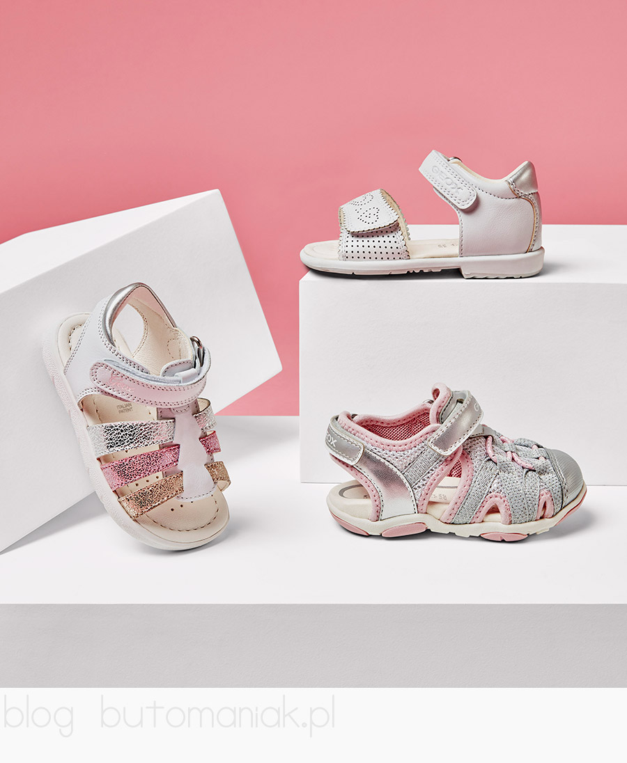 Oddychające sandały dziewczęce. Perforowana podeszwa- niezbędny element obuwia Geox. Świecący model ze światełkami w podeszwie.